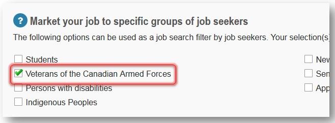 Veterans target employment group